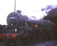 Black 5 no 45156 <I>Ayrshire Yeomanry</I> simmering in the shed yard at Patricroft in 1968.<br><br>[Jim Peebles&nbsp;//1968]