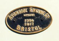 Works plate from the Bristol Industrial Museum's 1917 0-6-0ST <I>Portbury</I> [see image 33314].<br><br>[Peter Todd&nbsp;/03/2011]