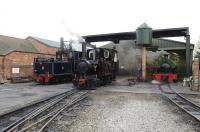 Narrow gauge locomotives at the privately owned Statfold Barn Railway in Staffordshire on 27 March 2011.<br><br>[Peter Todd&nbsp;27/03/2011]
