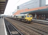 Freightliner 66510 hauls a lengthy coal train south through Doncaster in March 2011, still a busy location for both freight and passenger services. [See image 22051] for the same location 30 years earlier. <br><br>[Mark Bartlett&nbsp;19/03/2011]