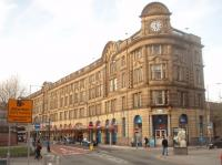 The main building at Manchester Victoria was dirty and run down for many years but it has been renovated and probably now looks like it did when it was the headquarters of the Lancashire and Yorkshire Railway. In particular the canopies at the front have been painstakingly restored [see image 33428]. The Metrolink tram services emerge from the <I>hole in the wall</I> that is just off picture to the right. <br><br>[Mark Bartlett&nbsp;19/03/2011]