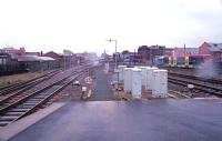 Looking north west from Birmingham Snow Hill during heavy rain in March 2001. A Midland Metro tram is departing on the right.<br><br>[Ewan Crawford&nbsp;/03/2001]