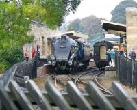 A gleaming 60007 <I>Sir Nigel Gresley</I> reverses back through Pickering station on 14 October 2009 having just come off an afternoon train from Grosmont. [See image 34769]<br><br>[John Furnevel&nbsp;14/10/2009]