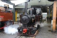 Former Indonesian sugar mill, 0-4-4-0T Mallet <I>'Pakis Baru No 5'</I>, stands alongside the servicing facilities on the Statfold Barn Railway on 27 March 2011.<br><br>[Peter Todd&nbsp;27/03/2011]