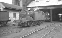 Drummond M7 0-4-4T no 30055 on shed at Three Bridges in the early 1960s, with a Q class 0-6-0 standing beyond.<br><br>[K A Gray&nbsp;//]