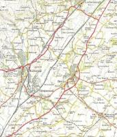 The southern end of the Kilbirnie Loop and the Beith Town branch seen on an OS One Inch Map of 1957.  At this point the station currently known as Lochwinnoch -the one on the 'main' line - was closed.  It had opened as Lochwinnoch, became Lochside, closed, reopened as Lochside when the Kilbirnie loop closed and was finally renamed Lochwinnoch.  Crown copyright 1957.<br> <br><br>[David Panton&nbsp;//1957]