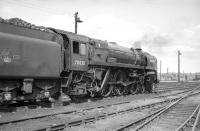 Scene in the yard at York on 2 July 1967 with Britannia Pacific no 70038 <I>Robin Hood</I> having recently arrived off a railtour from Stockport via Standedge. [See image 30112]<br><br>[K A Gray&nbsp;02/07/1967]