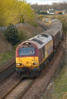 67021 nears Dysart on 6 April with the empty stock from the 17.20 Edinburgh - Cardenden service. <br><br>[Bill Roberton&nbsp;06/04/2011]