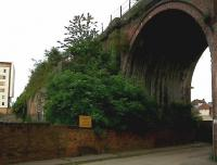 The viaduct on the right, between Foregate Street and Malvern, is familiar enough; but by peering through the foliage on the left, you may discern a lower level. This is the current end of the former Racecourse branch, where racehorses were sometimes delivered one van at a time. At least the accountants knew who the primary user was. The branch closed in 1964; the racecourse survives.<br><br>[Ken Strachan&nbsp;31/05/2010]