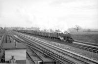 An unidentified Stanier 8F 2-8-0 takes a northbound freight out of Carlisle in the sixties. The train has just passed Kingmoor shed which can be seen in the left background.<br><br>[Robin Barbour Collection (Courtesy Bruce McCartney)&nbsp;//]