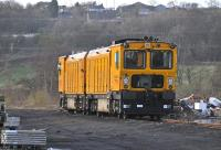 Harsco RGH20C Rail Grinder units DR79271 (nearest the camera) and DR79261 pictured in the yard at Inverkeithing on Monday, 4 April 2011.<br><br>[Andy Carr&nbsp;04/04/2011]