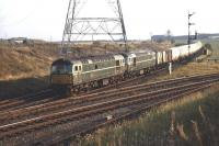 Class 26 locomotives D5306 + D5300 approaching Niddrie North Junction from the Millerhill direction on 13 October 1970 with a block train of chemical tanks. Newcraighall Colliery stands in the right background.<br> <br><br>[Bill Jamieson&nbsp;13/10/1970]