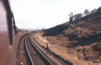 <I>Man at work</I> - passing shot taken from the northbound 'Royal Highlander' near Daviot in the summer of 1962.<br><br>[Frank Spaven Collection (Courtesy David Spaven)&nbsp;//1962]