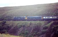 Photograph taken from alongside the A9 south of Dalnaspidal in 1969 showing �D5339 + D5120 with a southbound train from Inverness. [With thanks to John McIntyre, David Spaven, Bill Roberton & Adrian Morgan]<br> <br><br>[Bruce McCartney&nbsp;/08/1969]