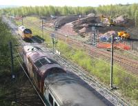 The northern approach to Millerhill yard on 12 April 2011, with work in connection with the new Borders Railway route to Tweedbank now underway in the background.<br><br>[John Furnevel&nbsp;12/04/2011]