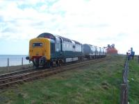 Privately preserved Deltic D9000/55022 <I>Royal Scots Grey</I>, currently on hire to GBRf, stands at the Alcan bauxite terminal at North Blyth on 12 April 2011. [See recent news item].<br><br>[Colin Alexander&nbsp;12/04/2011]