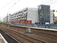 The large high-rise multi-user car park that has replaced the low-level car park that previously occupied the former goods yard at Wakefield Westgate station. The siting of the new car park in the throat of the old yard has precluded any possibility of running tracks behind the S&T building to provide extra platform capacity.  <br><br>[David Pesterfield&nbsp;05/04/2011]