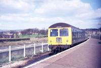 A DMU for Preston awaits its scheduled departure time from Colne station in mid 1977.<br><br>[Ian Dinmore&nbsp;//1977]