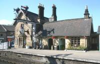 The classic old building on platform 2 at Grosmont station on Monday morning 20 April 2009, with the time on the station clock showing 10.30. The building stands at the entrance from Front Street alongside the level crossing.<br><br>[John Furnevel&nbsp;20/04/2009]