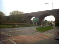 Almost fifty years after closure, the Midland Railway's viaduct on their Leicester line out of Rugby still strides purposefully across - Leicester Road. View south in March 2011.<br><br>[Ken Strachan&nbsp;29/03/2011]
