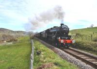 <I>The Great Britain IV</I> seen on 18 April with Black 5's 45407 <I> The Lancashire Fusilier </I> and 44871 working hard on the first stage of the long climb from Rogart to Lairg.<br><br>[John Gray&nbsp;18/04/2011]