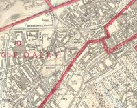 The criss-cross of lines in the Dalry (Edinburgh) area as seen in the Bartholomew's six-inch to the mile city plan for 1953-54.� Dalry Road station and the cramped shed can be seen, as can Gorgie station on the suburban circle.� The main line out of Princes Street to Carlisle cuts across the extract, though rather masked by the thick red line as it formed a boundary between wards on the old Edinburgh Corporation.<br><br>[David Panton&nbsp;//1953]