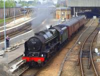 46115 <i>Scots Guardsman</i> leaving Perth with support coaches on 20 April 2011.<br><br>[Brian Forbes&nbsp;20/04/2011]