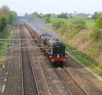 46115 <i>Scots Guardsman</i> brings <i>The Great Britain IV</i> towards its Day 6 destination on 21 April. The train is seen having just passed the site of Barton & Broughton station on 21 April on the northern outskirts of Preston.<br><br>[John McIntyre&nbsp;21/04/2011]