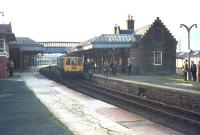 Photostop at Forfar. A <i>Railway Society of Scotland</i> DMU special calls at Forfar with a railtour on 12 October 1968, just over a year after the station had lost its scheduled passenger services.<br><br>[Bruce McCartney&nbsp;12/10/1968]