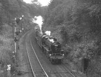 Black 5 no 5305 + <I>Jubilee</I> 5690 <I>Leander</I> approach Marple station on 24 September 1977 on the return leg of a trip over the Hope Valley line to Sheffield.<br><br>[Bill Jamieson&nbsp;24/09/1977]