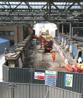 Ongoing work on the closed south ramp at Waverley station on 21 April 2011. View from the cross-station walkway looking towards the station exit on Waverley Bridge.<br><br>[John Furnevel&nbsp;21/04/2011]