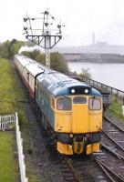 27001 leads the 14.48 from Manuel into Bo'ness on 23 April with Neilson Reid No.1 at the rear.  Longannet Power Station lurks in the background.<br><br>[Bill Roberton&nbsp;23/04/2011]