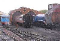 A4 Pacific 60007 on shed at Bo'ness on 23 April, with 0-6-0T No.1 taking water.<br><br>[Bill Roberton&nbsp;23/04/2011]