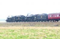 Black 5s 45407 + 44871 photographed near Dalwhinnie on 20 April with the <i>Great Btitain IV</i> special. <br><br>[Jim Peebles&nbsp;20/04/2011]