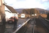 Token exchange at Strathcarron in the autumn of 1982, viewed from the cab of 26 046.<br><br>[Frank Spaven Collection (Courtesy David Spaven)&nbsp;20/11/1982]