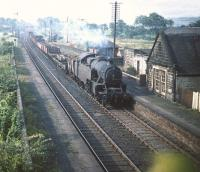 Fairburn 2-6-4T no 42122 brings a freight north through Lochside station in August 1959.<br><br>[A Snapper (Courtesy Bruce McCartney)&nbsp;21/08/1959]