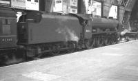 Royal Scot no 46164 <I>The Artists' Rifleman</I> stands at the buffer stops at platform 7 of St Pancras station on 9 October 1961, shortly after arrival with the sleeper from Glasgow St Enoch.<br><br>[K A Gray&nbsp;09/10/1961]