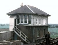 The signal box at Quintinshill in 1970, seen from a passing southbound train.<br><br>[John McIntyre&nbsp;19/05/1970]