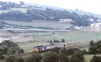 An Exeter - Barnstaple service photographed near Umberleigh on 18 September 1990. The unusual formation on this occasion consists of class 50 locomotive no 50036 <I>'Victorious'</I> with a pair of BSKs.<br><br>[Ian Dinmore&nbsp;18/09/1990]