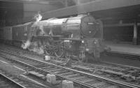 An express parcels service from York arrives at Newcastle Central on 25 May 1963 behind A1 Pacific no 60126 <I>Sir Vincent Raven</I>. <br><br>[K A Gray&nbsp;25/05/1963]