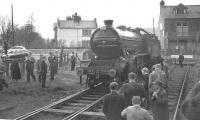 Preserved ex-LNER class K4 no 3442 <I>The Great Marquess</I> stands at the buffer stops at Grassington on 4 May 1963 shortly after arriving with the RCTS (West Riding Branch) <I>'Dalesman'</I> railtour from Bradford Forster Square. <br><br>[K A Gray&nbsp;04/05/1963]