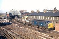 Class 37 No. 6755 brings a colliery trip working�south through Stockton station, heading towards Tees Yard,�late in the afternoon of 2nd October 1970.<br> <br><br>[Bill Jamieson&nbsp;02/10/1970]