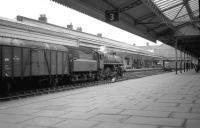 Looking towards the buffer stops along platform 3 at Aberystwyth in early 1967, showing BR Standard Class 4 4-6-0 no 75033 shortly after arrival with the down <I>Cambrian Coast Express</I>. Photographed during the train's last few days of steam haulage [see image 33910]. <br><br>[Robin Barbour Collection (Courtesy Bruce McCartney)&nbsp;//1967]
