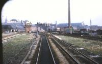 The view from the front of an eastbound DMU approaching Ordsall <br> Junction, Manchester, on 19 May 1970. On the left are Granada Studios and Ordsall Junction signal box, while over on the right is the roof of Manchester Central station.<br> <br><br>[John McIntyre&nbsp;19/05/1970]