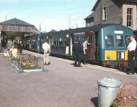 A DMU stands in the autumn sunshine at Mallaig with a BLS special on 1 September 1968. [See image 25028]<br><br>[Bruce McCartney&nbsp;01/09/1968]
