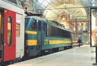 SNCB electric locomotive no 2110 stands at the buffers at Antwerp Central on 4 June 2004, shortly after arrival with the 20.57 train from Brussels.<br><br>[Bill Roberton&nbsp;04/06/2004]
