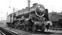 Stanier Royal Scot 4-6-0 no 46120 <I>Royal Inniskilling Fusilier</I> standing in the yard at Longsight shed, Manchester, thought to have been photographed in 1959. <br><br>[K A Gray&nbsp;//1959]