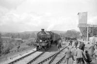 62005+D5160 at Redmire with the SLS <I>Three Dales Railtour</I> on 20 May 1967. The diesel had joined the rear of the train at Northallerton for the journey along Wensleydale in order to assist with the run-round manoeuvre at Redmire, where the loop was shorter than the train. With the run-round completed 62005+D5160 are seen ready to depart on the next leg of the tour to Darlington, at which point the diesel was released.<br><br>[Robin Barbour Collection (Courtesy Bruce McCartney)&nbsp;20/05/1967]