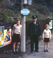 Shortly before the 30th April 1962 withdrawal of the Leith North-Princes Street passenger service, the photographer records a final scene at his local station, Granton Road, featuring his two sons and the Stationmaster. The solum of the line here now forms a walkway and cycle path [see image 1088].<br><br>[Frank Spaven Collection (Courtesy David Spaven)&nbsp;30/04/1962]