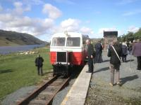 Railcar no 18 at the platform at Fintown, County Donegal, on 8 May 2011.<br><br>[John Yellowlees&nbsp;08/05/2011]